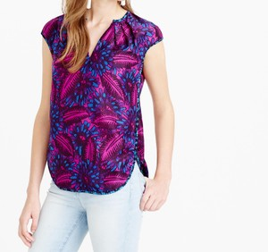 J.Crew Silk Floral Print Top Purple and Pink