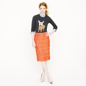 J.Crew Pencil Wool Tweed Corkscrew Tweed Skirt Orange