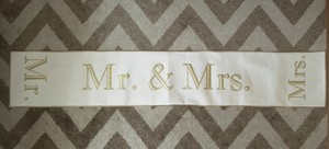 Mr. & Mrs. Ivory And Gold Table Runner