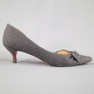 Christian Louboutin Flannel Buckle Kitten Italian Gray Pumps