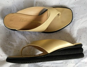 Salvatore Ferragamo Wedge Flip Flops Leather Cream Sandals