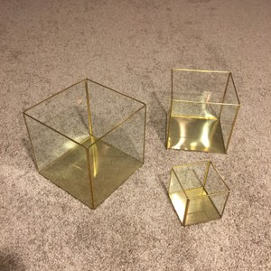 Square Gold Candle Holders Terrariums