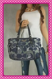 Coach Excellent Tote in Navy/Silver