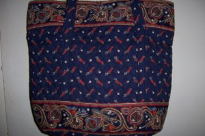 Vera Bradley Vintage Designs Large Tote in Golf Navy