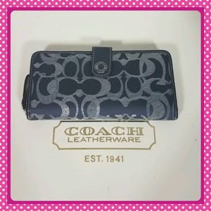 Coach Coach Signature Optic Metallic Accordion Zip Around Wallet