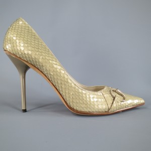 Gucci Snakeskin Leather Horsebit Spike Metal Mint Pumps