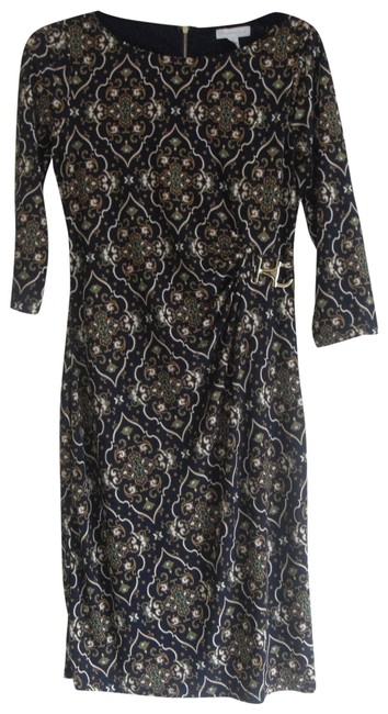 Item - Navy/Gold XS Womens Navy/Gold Print Metal Trim Ruched Knee Length Cocktail Dress Size 2 (XS)