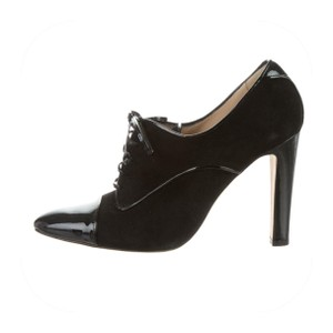Manolo Blahnik Black Suede with Patent Leather cap toes Boots