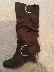 Naughty Monkey Faux Suede Wedge Tall Boot Brown Boots