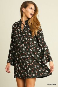 Umgee short dress Black Boho Floral Bohemian on Tradesy