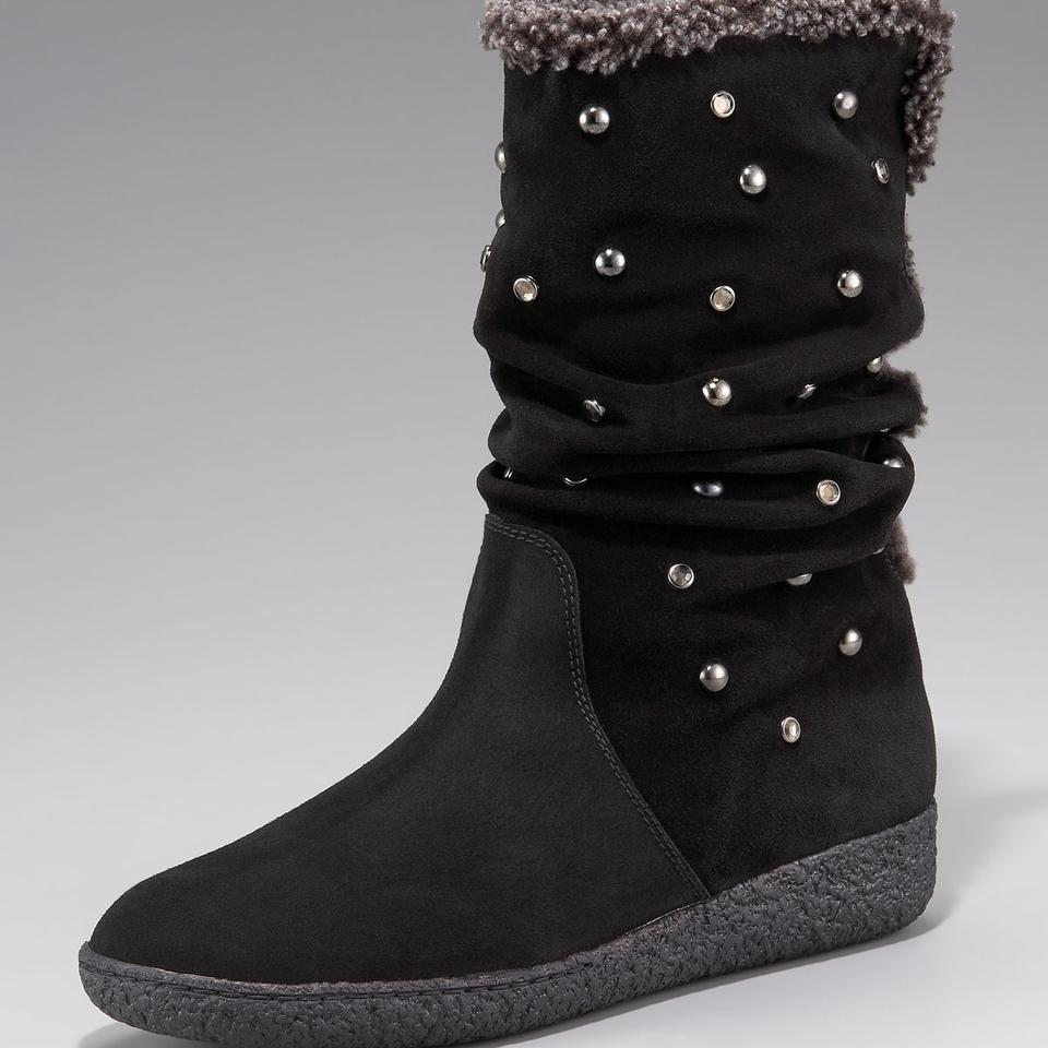 Stuart Gray Weitzman Black Gray Stuart Silver Studded Shearling Boots/Booties 4a326f