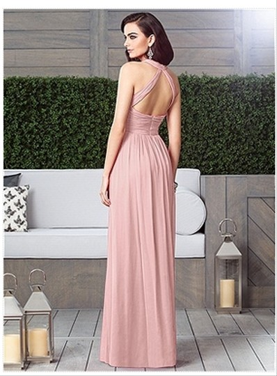 Dessy Suede Rose Lux Chiffon 2908 Feminine Bridesmaid/Mob Dress Size 8 (M)