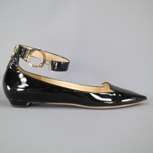 Jimmy Choo Handcuff Patent Leather Black Flats