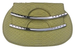 Hayward Snakeskin Suede Chic Yellow lime Clutch