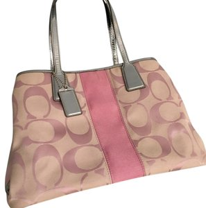 Coach Tote in Pink, White L & silver
