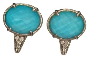Judith Ripka Judith Ripka Turquoise Doublet Sterling Silver Omega Back Earrings