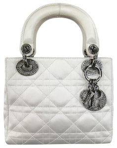 Dior Mini Lady Italian Leather Crystal Tote in White
