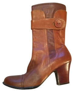 Brn Zipper Midcalf Brown - two tone Boots