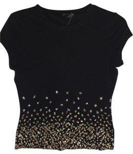 INC International Concepts Gold Sequin T Shirt BLACK