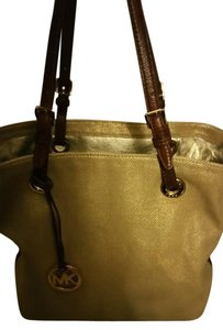 Michael Kors Tote in Tan and brown with gold interior