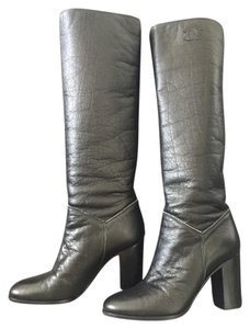 Chanel Heeled Riding Ascot Aged Leather Riding Black Boots