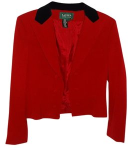 Lauren Ralph Lauren Black Trim Lined Short red Jacket