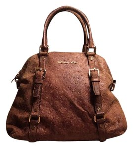 Michael Kors Ostrich Leather Satchel in Mocha