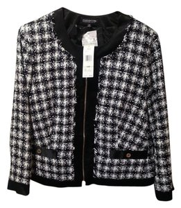 Jones New York Checkered Suit Shimmer Zipper Black and White Jacket