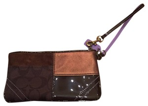 Coach Wristlet in Brown W/ Purple Accent