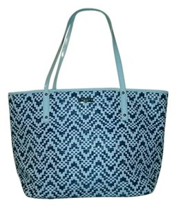 Kate Spade Straw Tote in blue and white