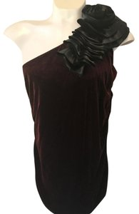 Dress Barn Evening Cocktail Blouse Jeans Off Top Burgandy