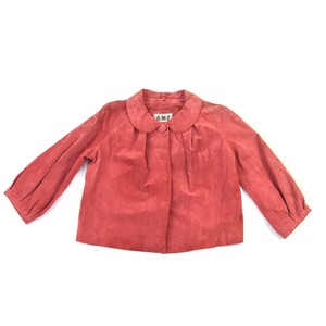 Suede 3/4 Length Pink Leather Jacket