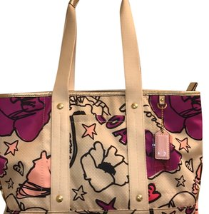 Coach Tote in Gold, Cream, Purple,Pink
