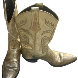 Larry Mahan Leather Cowboy Vintage Gold Boots