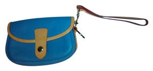 Dooney & Bourke Leather Cowhide Wristlet in Blue and Tan