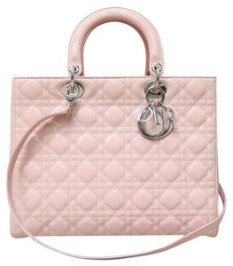 Dior Large Lady Vernis Satchel in pink