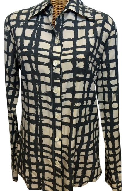 Item - Black & Ivory Button Front Blouse Large Button-down Top Size 12 (L)