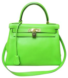 Hermès Tote Shoulder Green Kelly Satchel in Vert Cru