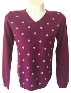 Tommy Hilfiger V Neck Polka Dot Pink Sweater