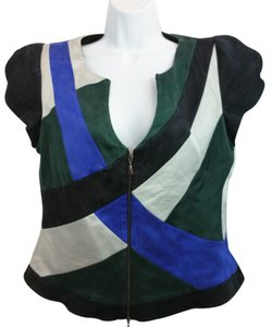 Giorgio Armani Silk Top Blue/Green/Faded Black