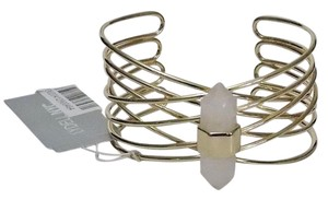 Lydell NYC Lydell NYC Cuff Bracelet Goldtone Multi Band Wire Crystal