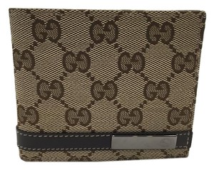 Gucci Gucci Wallet Beige Canvas and Brown Leather