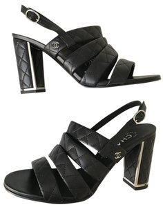 Chanel Quilted Chain Sandal Black Sandals