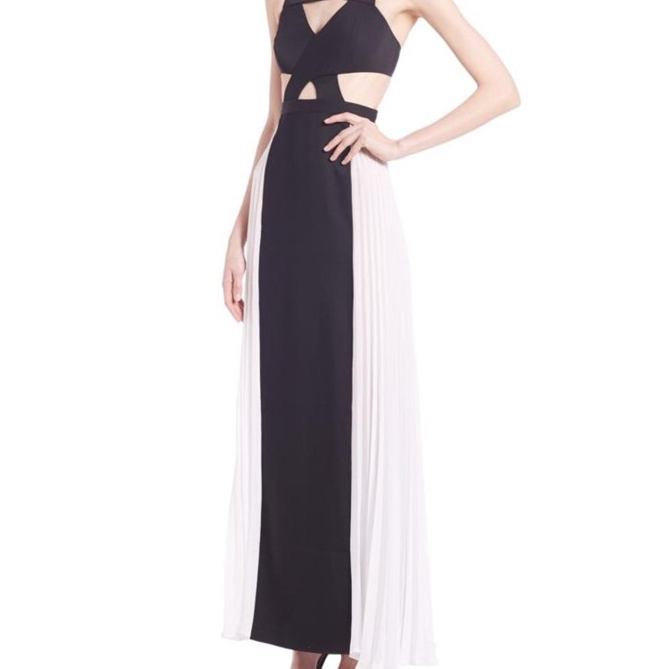 BCBGMAXAZRIA Black and White Pleated Cutout Gown Long Casual Maxi ...