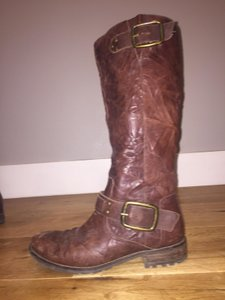 Jessica Simpson Rustic Leather Buckle Riding Brown Boots