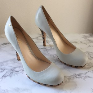 Coach Soft Calf Leather Heel Cream Pumps
