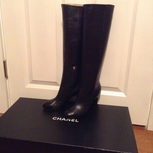 Chanel Lambskin Leather Black Boots