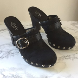 Coach Canvas Studded Leather Black Mules