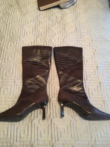 Style & Co Leather Alligator Short Chanel Brown Boots