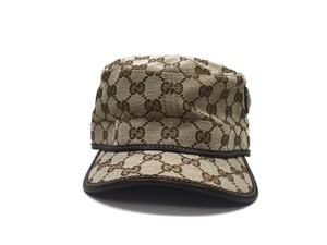 Gucci Gucci Hat Beige Canvas and Brown Leather (Extra Large)